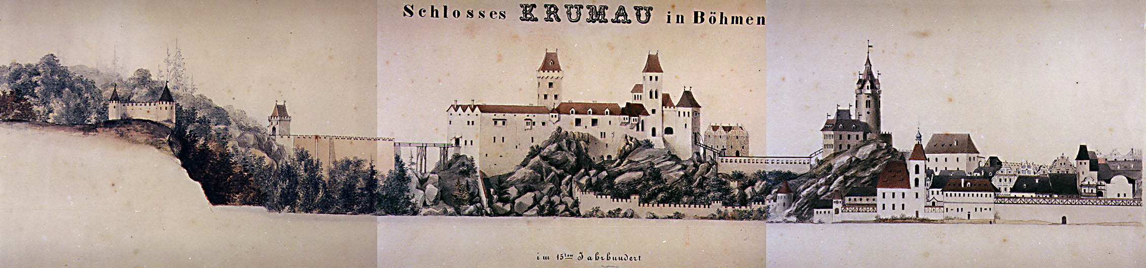 Period pictorial representation of the constructional development of Český Krumlov Castle