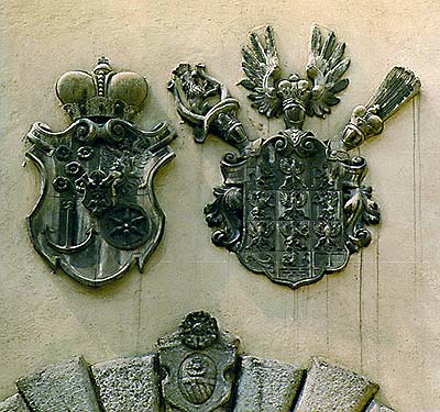 Coats-of-arms above entrance passage into III. courtyard of Český Krumlov Castle