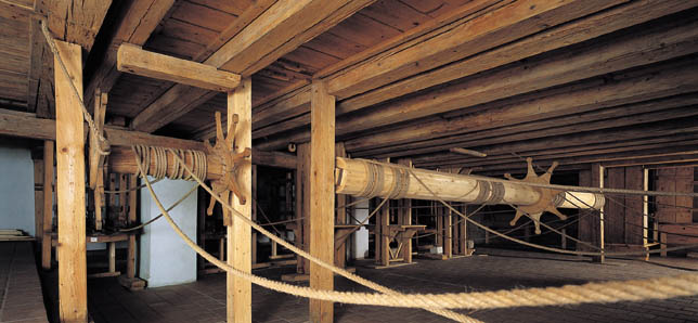 Winches for controlling wing frames, machinery of Český Krumlov Castle Theatre, foto: Věroslav Škrabánek