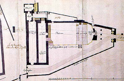 Plan  from 1760 showing layout of the Český Krumlov Castle Theatre in 17th century