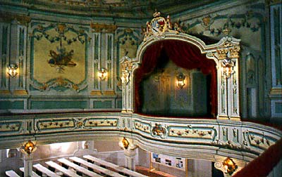 Royal box in the auditorium of the Český Krumlov Castle Theatre