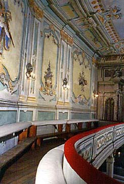 Galleries above the auditorium in the Český Krumlov Castle Theatre