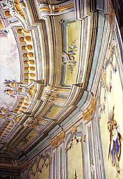 Detail of illusive painting on walls and ceiling in the Český Krumlov Castle Theatre