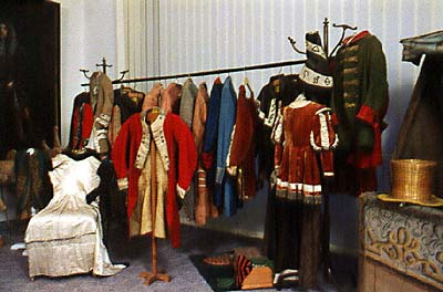 Baroque theatre costumes from depository of the Český Krumlov Castle Theatre