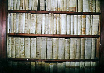 Castle library in Český Krumlov, detail of literary fund from 17th century
