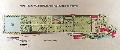 Plan of Castle Gardens at the Český Krumlov Castle from 1910