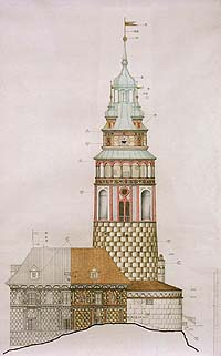 Proposal of color resolution of the facade of the Český Krumlov Castle Tower, foto: Ladislav Pouzar