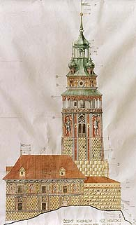 Proposal of color resolution of the Český Krumlov Castle Tower, foto: Ladislav Pouzar
