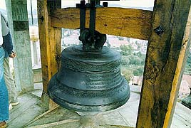 The hourly clock-bell in the lucerna of the Český Krumlov Castle Tower, condition after restoration, dated to 1591, foto: Ladislav Bezděk