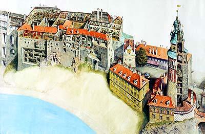 Трижды река Влтава, петляя, возвращается почти...  Чешский Крумлов - маленький средневековый городок...