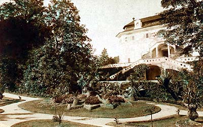 Summerhouse Bellarie in the Český Krumlov Castle Gardens, historical photo, foto: Wolf