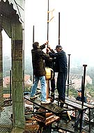 Český Krumlov, Castle no.  59 - Castle tower, repair, placing one of the gilded cupolas