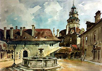 2nd courtyard of Český Krumlov Castle, watercolor