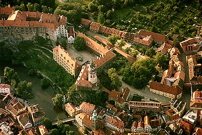 Český Krumlov Castle, 1st and 2nd courtyards, aerial view